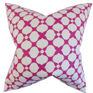 Qiturah Geometric Down and Feather Filled Throw Pillow with Hidden Zipper Closure 18-inch Raspberry