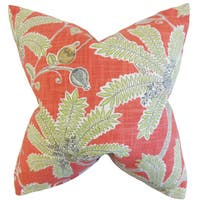 Yahor Foliage Down and Feather Filled Throw Pillow with Hidden Zipper Closure 18-inch Coral