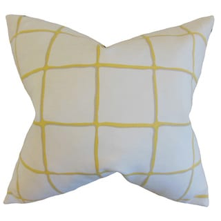 Owen Checked Down and Feather Filled Throw Pillow with Hidden Zipper Closure 18-inch Citrine