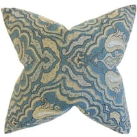 Wystan Damask Down and Feather Filled Throw Pillow with Hidden Zipper Closure 18-inch Blue