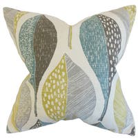 Valter Geometric Down and Feather Filled Throw Pillow with Hidden Zipper Closure 18-inch Rain