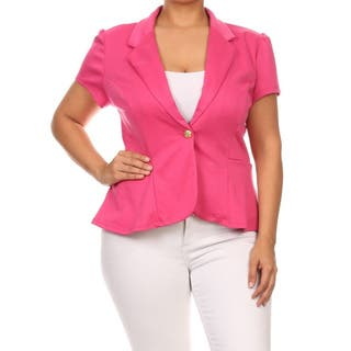 MOA Collection Women's Plus Size Blazer Jacket (Option: Pink)|https://ak1.ostkcdn.com/images/products/11719211/P18639889.jpg?impolicy=medium