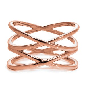 Eternally Haute 14k Rose Goldplated Brass Double Helix X Ring - Pink