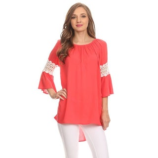 MOA Collection Women's Tunic with Crochet Lace Sleeves