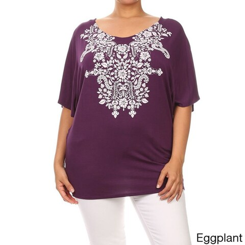 MOA Collection Women's Plus Size Floral Embossing Scoop Neckline Top