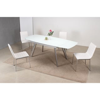 5 Piece Dining Set in White with Chrome Legs