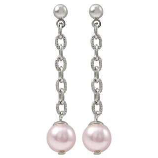 Luxiro Rhodium Finish Pink Faux Pearls Dangle Earrings