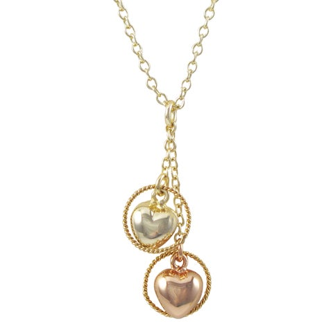 Luxiro Two-tone Gold Finish Halo Heart Children's Pendant Necklace - Pink