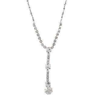 Luxiro Rhodium Finish Pave Crystals Y Necklace