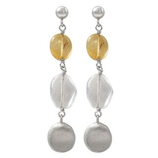 Luxiro Matte Rhodium Finish Citrine and Quartz Gemstone Dangle Earrings