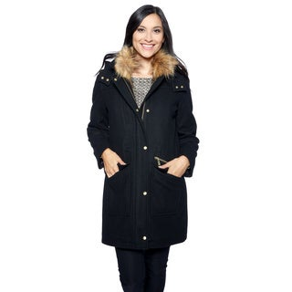 Cole Haan Signature Women's Black Wool/Polyester Snap Front Drawstring Waist Parka with Detachable Faux Fur Collar