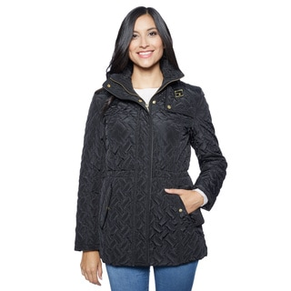 Cole Haan Signature Women's Belted Quilted Jacket with Gun Flap