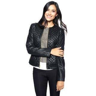 Cole Haan Signature Women's Black Polyurethane/Polyester Quilted Jacket