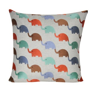 Loom and Mill 22 x 22-inch Elephants Decorative Pillow