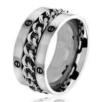 Men's Brushed Stainless Steel Center Chain Comfort Fit Ring - 11mm Wide