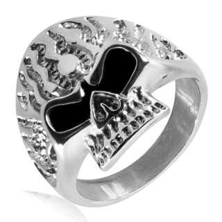 Men's Polished Stainless Steel Flaming Skull Ring - 25mm Wide