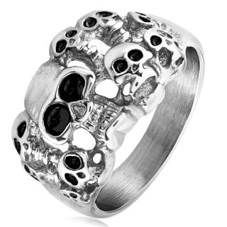 Men's Polished Stainless Steel 9 Skulls Ring - 17mm Wide - White