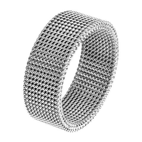 Men's Polished Stainless Steel Mesh Flexible Ring - 8mm Wide - White