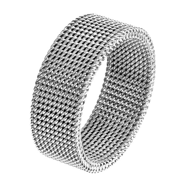 aea002c1b Men's Polished Stainless Steel Mesh Flexible Ring - 8mm Wide - White