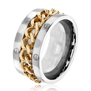 Men's Polished Stainless Steel Gold Plated Spinner Chain Ring - 11mm Wide
