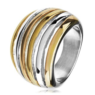 Open Crescent Polished Tri Tone Stainless Steel Cocktail Ring (17mm) - White