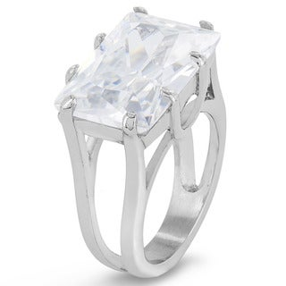 Princess Cut Cubic Zirconia Stainless Steel Ring - 12mm Wide