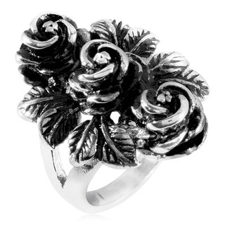 Antique Roses Cast Stainless Steel Ring - 30mm Wide - White