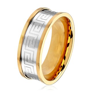 Men's Two-Tone Stainless Steel Etched Greek Key Comfort Fit Ring - YELLOW/White