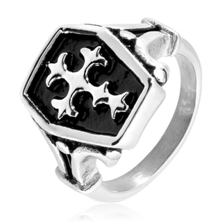 Men's Polished Stainless Steel Antique Celtic Cross Shield Ring - 18mm Wide