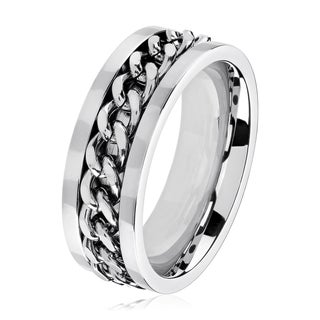 Men's Polished Stainless Steel Curb Chain Inlay Comfort Fit Ring - 6-8mm Wide