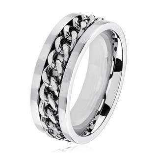 Men's Polished Stainless Steel Curb Chain Inlay Comfort Fit Ring - 6-8mm Wide|https://ak1.ostkcdn.com/images/products/11719381/P18640013.jpg?impolicy=medium
