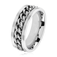 Men's Polished Stainless Steel Curb Chain Inlay Comfort Fit Ring - White