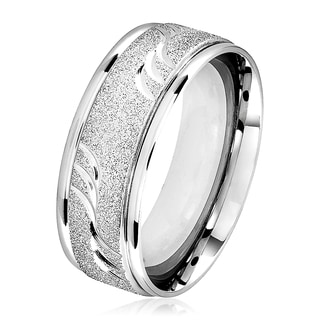Men's Sandblasted Stainless Steel Grooved Comfort Fit Ring - 6-8mm Wide