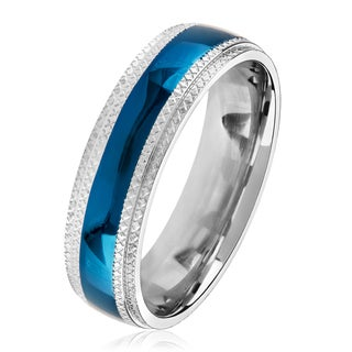 Men's Blue Plated Polished Stainless Steel Domed Comfort Fit Ring - 6mm Wide