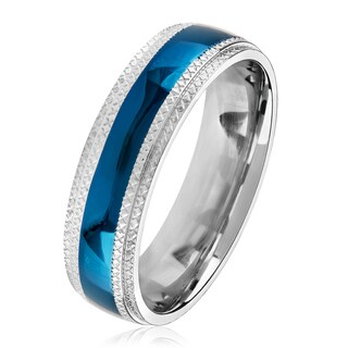 Men's Blue Plated Stainless Steel Domed Comfort Fit Ring (6mm) - White