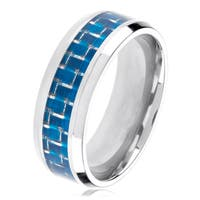 Polished Titanium Men's Blue Carbon Fiber Inlay Beveled Ring