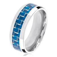Polished Titanium Men's Blue Carbon Fiber Inlay Beveled Ring - White