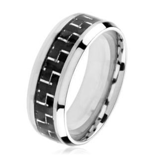 Polished Titanium Men's Black Carbon Fiber Beveled Comfort Fit Ring