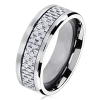 Polished Titanium Men's Grey Carbon Fiber Beveled Comfort Fit Ring - White