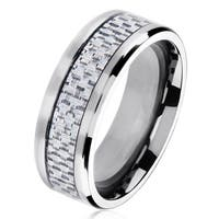 Polished Titanium Men's Grey Carbon Fiber Beveled Comfort Fit Ring