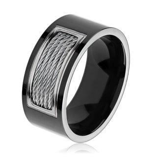mens black plated polished titanium cable inlay comfort fit ring 10mm wide - Titanium Wedding Rings For Her