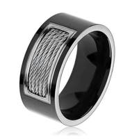 Black Plated Polished Titanium Cable Inlay Comfort Fit Ring (10mm)