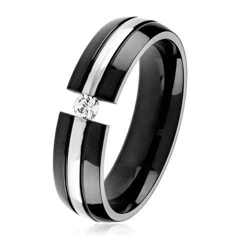 Men's Two-Tone Polished Titanium Cubic Zirconia Comfort Fit Ring