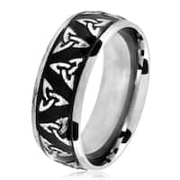 Polished Two-Tone Titanium Men's Etched Celtic Trinity Knot Domed Ring - Black/White