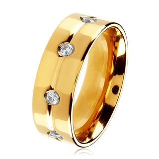 Goldplated Polished Titanium Men's Cubic Zirconia Eternity Comfort Fit Ring