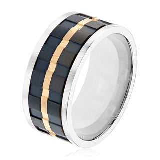 Tri-Tone Dual Finish Titanium Men's Spinner Comfort Fit Ring - Black/White