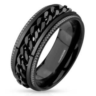 Men's Black Plated Polished Stainless Steel Spinner Chain Inlay Milgrain Ring - 8mm Wide