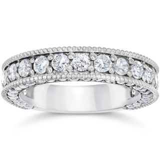 14k White Gold 2 1/8 Carat TDW Vintage Diamond Wedding Ring (I-J, I2-I3)