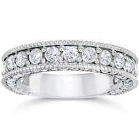 14k White Gold 2 1/8 Carat TDW Vintage Diamond Wedding Ring