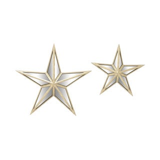 Set of 2 Metal Mirror Wall Star 15-inch, 21-inch